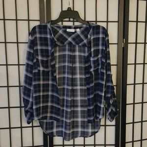 New York & Co sheer plaid top